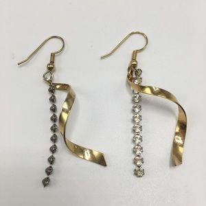 Gold silver crystal swirl stick earrings